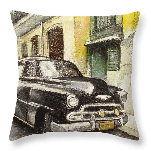 Car Throw Pillow featuring the painting Black cadillac by Tomas Castano