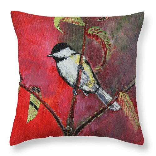Chickadee Throw Pillow featuring the painting Black Capped Chickadee by Laura Wilson