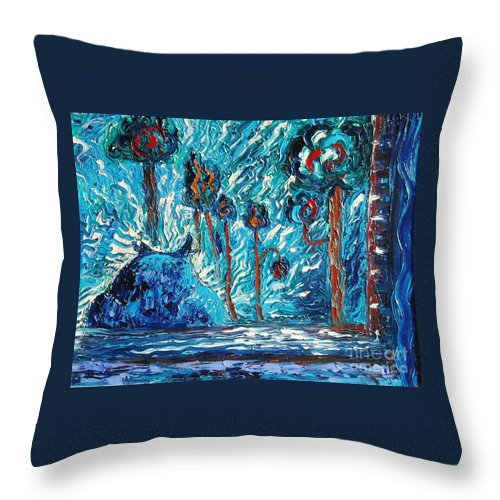 Abstract Cat Paintings Throw Pillow featuring the painting Black Cat by Seon-Jeong Kim