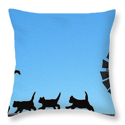 Cat Art Throw Pillow featuring the painting Black Cats by Queso Espinosa