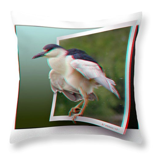 3d Throw Pillow featuring the photograph Black Crowned Night Heron - Use Red-cyan 3d Glasses by Brian Wallace