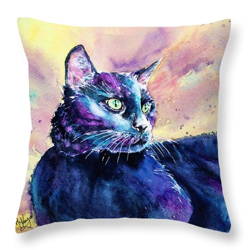 Cat Throw Pillow featuring the painting Black Cutie by Carrie McKenzie