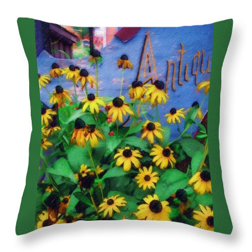 Flowers Throw Pillow featuring the photograph Black-eyed Susans At The Bag Factory by Sandy MacGowan