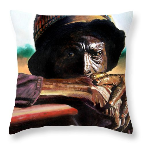 Black Farmer Throw Pillow featuring the painting Black Farmer by John Lautermilch