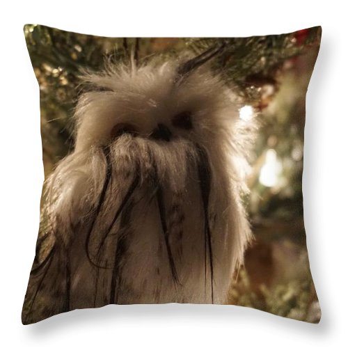 Winter Throw Pillow featuring the photograph Black Feather Owl by Susan Brown