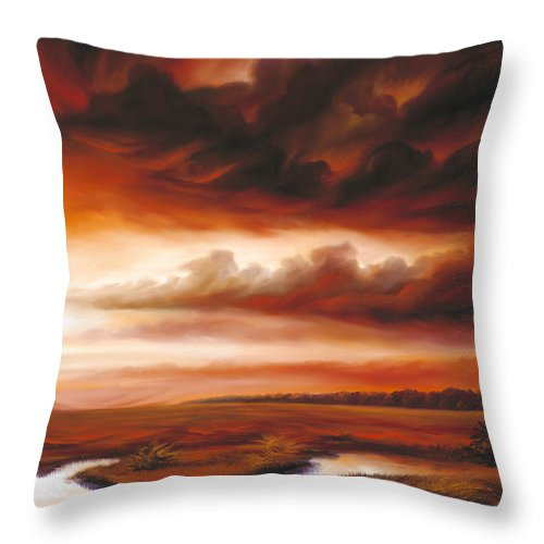 Contemporary Throw Pillow featuring the painting Black Fire by James Christopher Hill