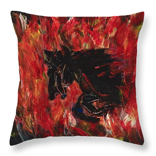 Black Throw Pillow featuring the painting Black Fury by Stephane Trahan