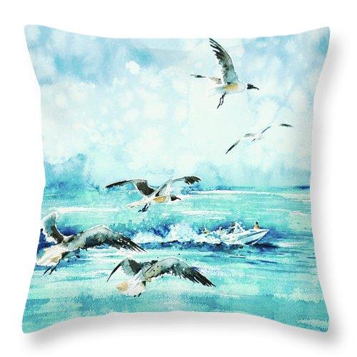 Black-headed Seagulls Throw Pillow featuring the painting Black-headed Seagulls At Seven Seas Beach by Zaira Dzhaubaeva