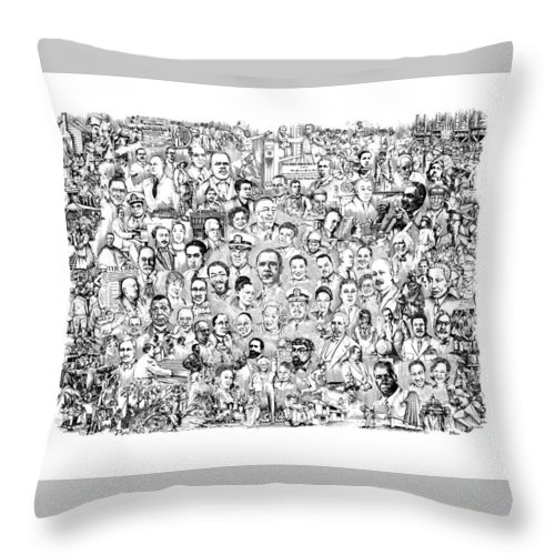 Black History Throw Pillow featuring the drawing Black Heritage by Dennis Bivens