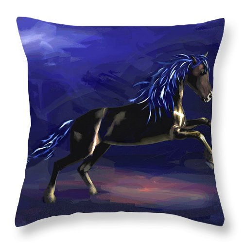 Horse Throw Pillow featuring the painting Black Horse At Night by Pietro Branca