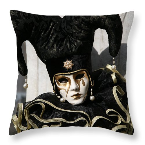Black Throw Pillow featuring the photograph Black Jester by Donna Corless