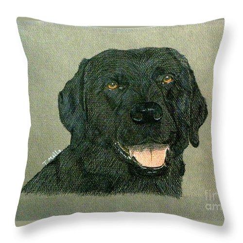 Dog Throw Pillow featuring the drawing Black Labrador Retriever by Terri Mills