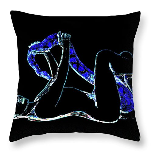 Nude Throw Pillow featuring the painting Black Lite by Thomas Oliver