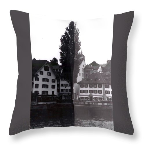 Black And White Throw Pillow featuring the photograph Black Lucerne by Christian Eberli