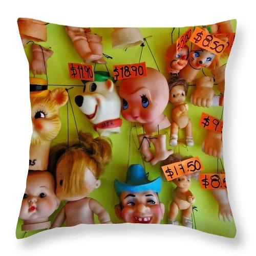 Heads Throw Pillow featuring the photograph Black Market Parts by Skip Hunt