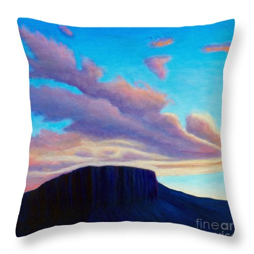 Landscape Throw Pillow featuring the painting Black Mesa Sunset by Brian Commerford