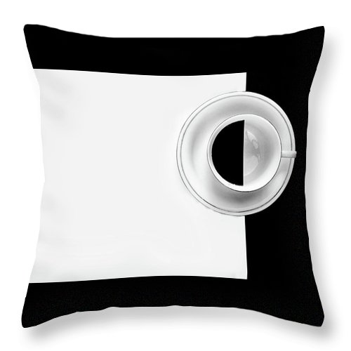 Coffee Throw Pillow featuring the photograph Black On White by Kevin Towler