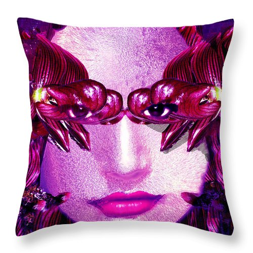 Oriental Throw Pillow featuring the digital art Black Orchid Eyes by Seth Weaver