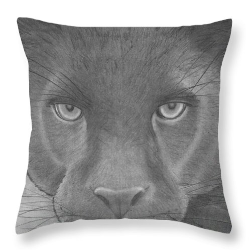 Wildlife Throw Pillow featuring the drawing black Panther by Eileen Blair