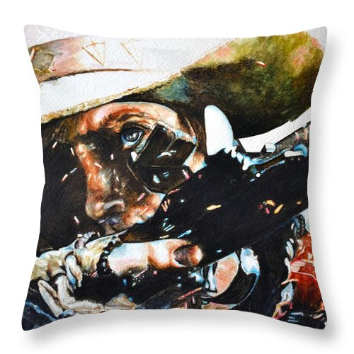 Western Paintings Throw Pillow featuring the painting Black Powder by Traci Goebel