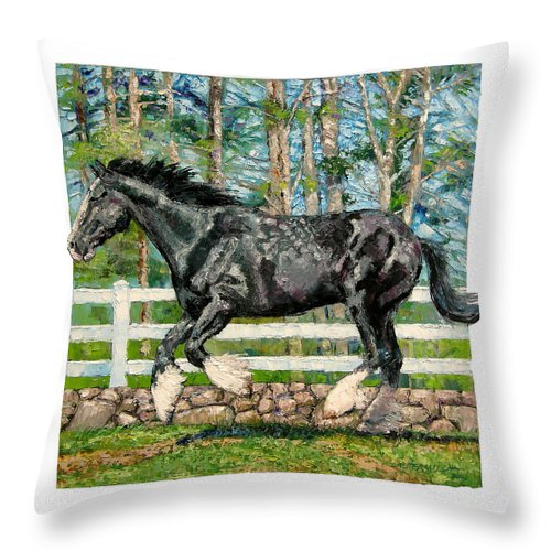 Horse Throw Pillow featuring the painting Black Power by John Lautermilch