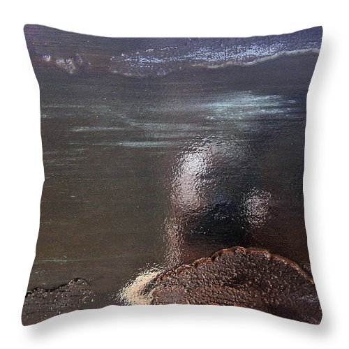 Black Throw Pillow featuring the painting Black Revisited by Robert W Dunlap