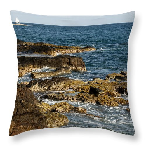 Sailboat Throw Pillow featuring the photograph Black Rock Point And Sailboat by Jean Macaluso