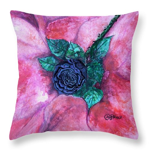 Black Rose Throw Pillow featuring the painting Black Rose by Caroline Street