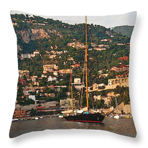 Villefranche Throw Pillow featuring the photograph Black Sailboat At Villefranche II by Steven Sparks