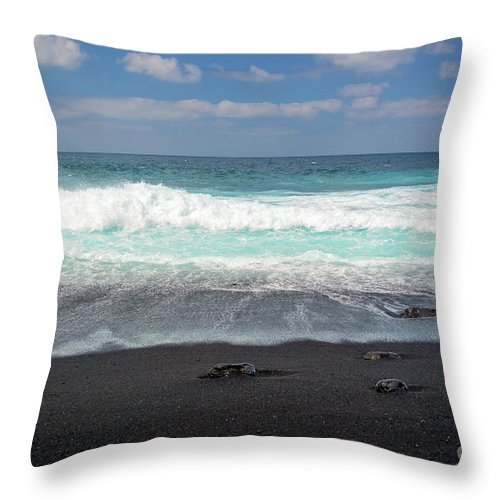 Lanzarote Throw Pillow featuring the photograph Black Sand Beach by Delphimages Photo Creations