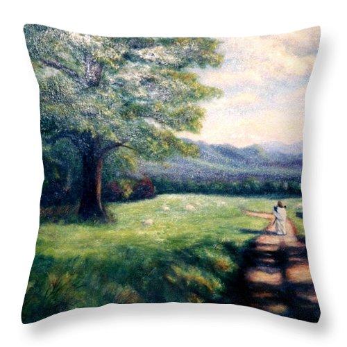 Christian Throw Pillow featuring the painting Black Sheep by Gail Kirtz