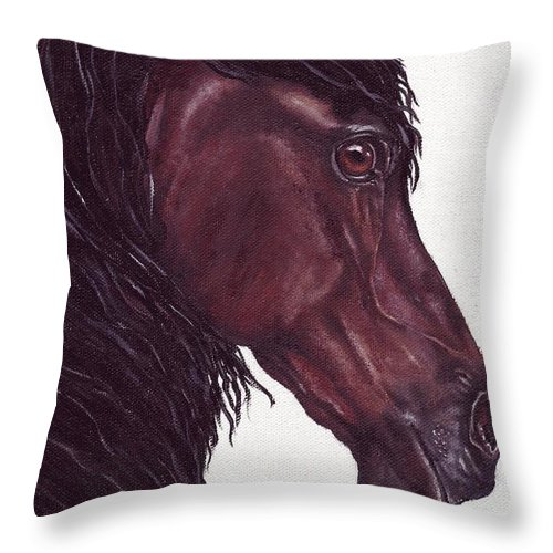 Horse Throw Pillow featuring the painting Black Sterling I by Kristen Wesch