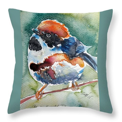 Black Throw Pillow featuring the painting Black- Throated Tit by Kovacs Anna Brigitta