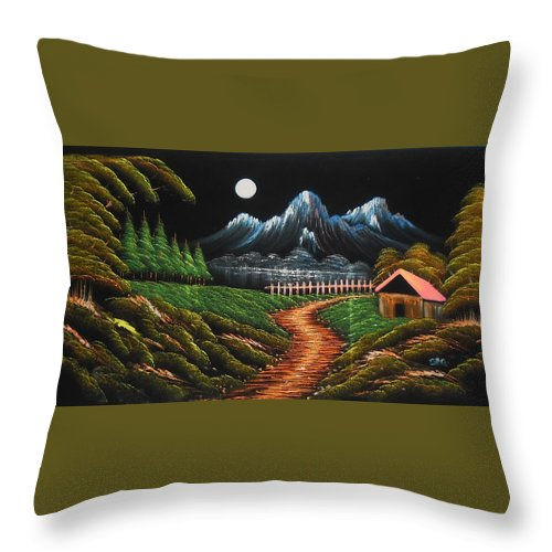 Night View Throw Pillow featuring the painting Night View With Full Moon by Pisces Art Word