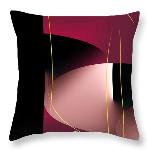Abstract Digital Art Throw Pillow featuring the digital art Black Vs White Vs Red by John Krakora