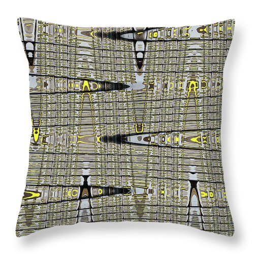 Black Walnut Drawing With Yellow Abstract Throw Pillow featuring the digital art Black Walnut Drawing With Yellow Abstract by Tom Janca