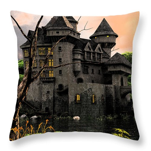 Shadows Pond Castle Mote Lake Throw Pillow featuring the mixed media Black Water Pond by Steven Palmer