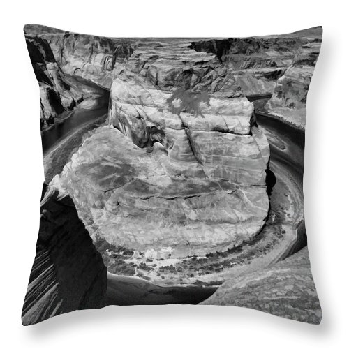 Horseshoe Bend Throw Pillow featuring the photograph Black White Horseshoe Bend Arizona by Chuck Kuhn