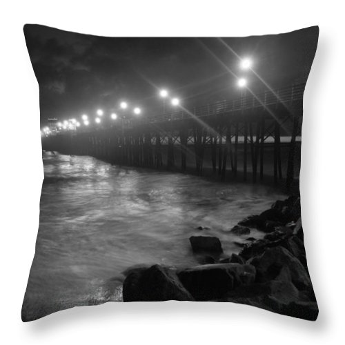 Black & White Pier Throw Pillow featuring the photograph Black White Pier by Kelly Wade