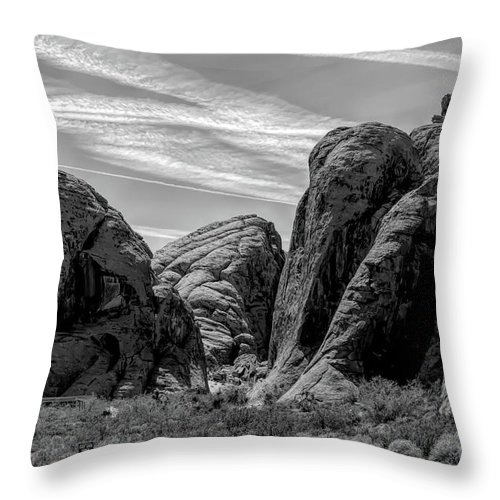 Valley Of Fire Throw Pillow featuring the photograph Black White Valley Of Fire by Chuck Kuhn