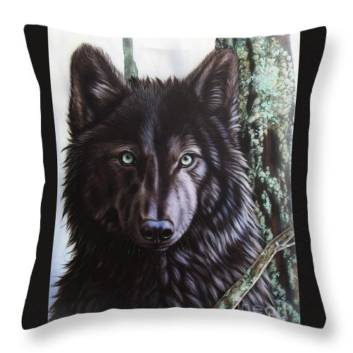 Wolves Throw Pillow featuring the painting Black Wolf by Sandi Baker
