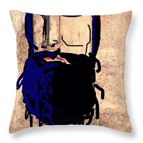 Pirate Caricature Throw Pillow featuring the photograph Blackbeard The Pirate by Joe Jake Pratt