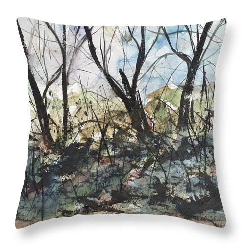 Landscape Throw Pillow featuring the painting Blackberries And Trees by Ken Blacktop Gentle