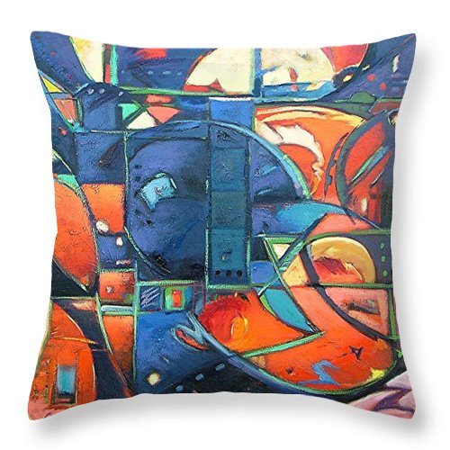 Abstract Throw Pillow featuring the painting Blackbird by Gary Coleman