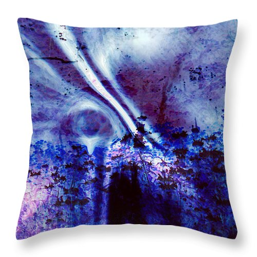 Abstracts Throw Pillow featuring the digital art Blackest Eyes by Linda Sannuti