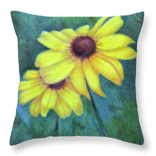 Fuqua - Artwork Throw Pillow featuring the drawing Blackeyed Susan by Beverly Fuqua