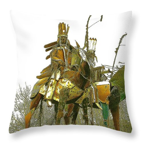 Native American Throw Pillow featuring the photograph Blackfeet Wariors by Nelson Strong