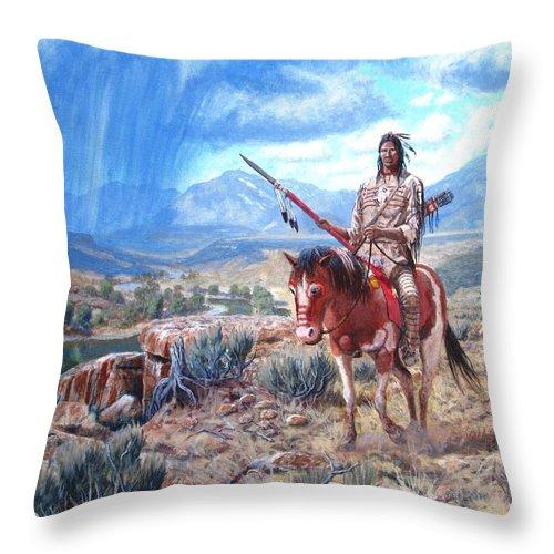 Blackfoot Warrior Throw Pillow featuring the painting Blackfoot Warrior by Scott Robertson