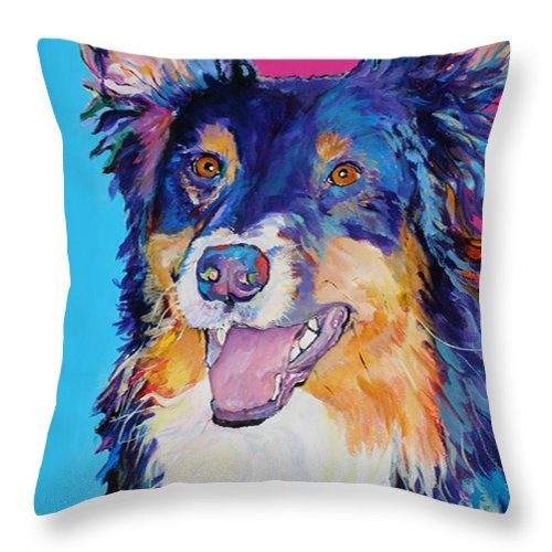 Dog Throw Pillow featuring the painting Blackjack by Pat Saunders-White