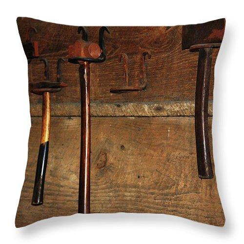 Blacksmith Photographs Throw Pillow featuring the photograph Blacksmith Tools by Kim Henderson